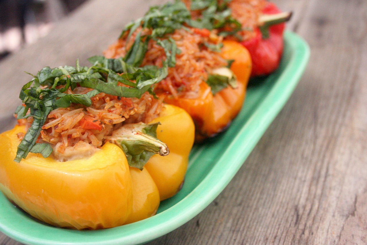 Basmati Stuffed Grilled Peppers - Thug Kitchen