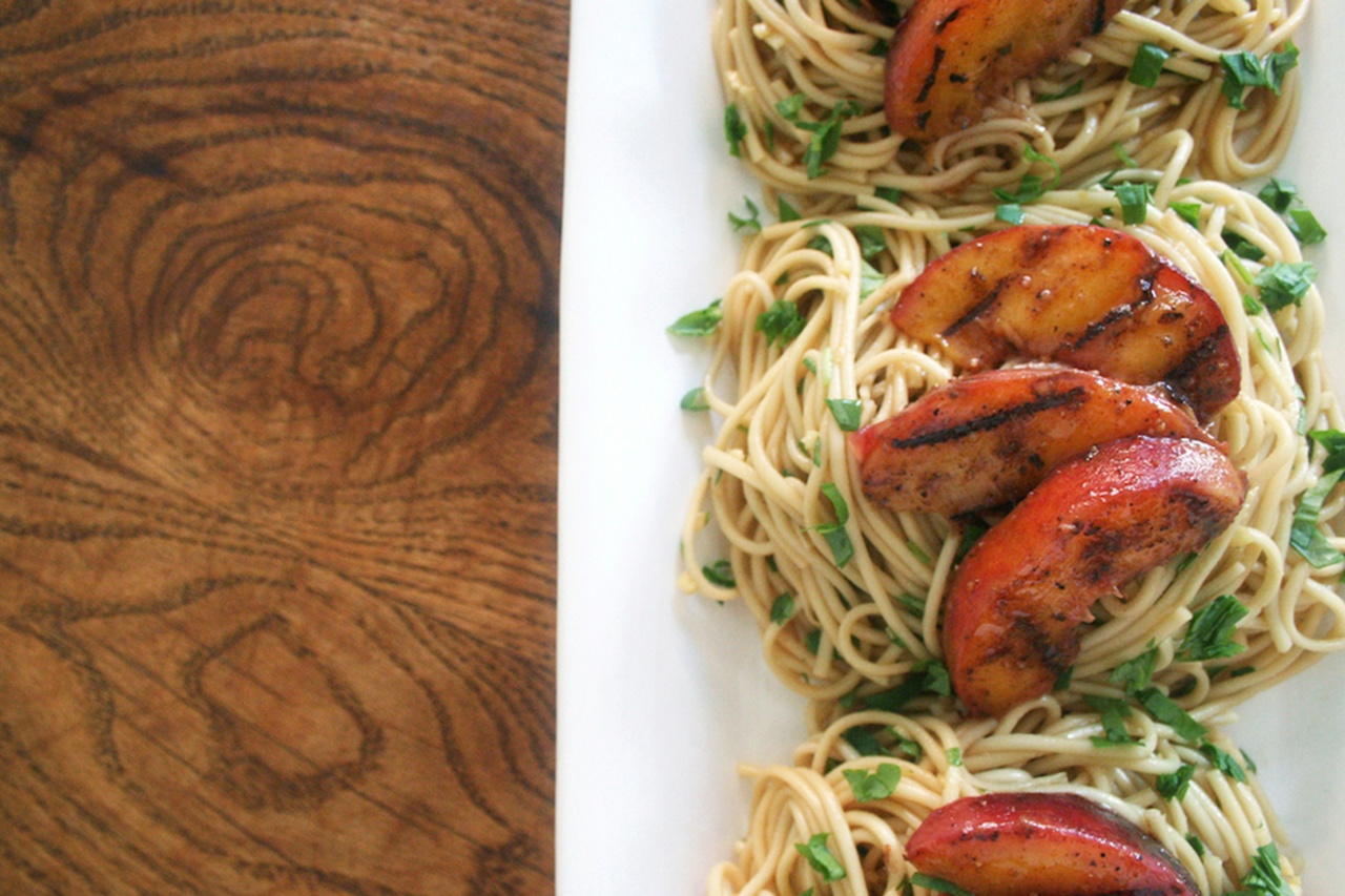Grilled Chinese Five Spice Peaches with Cold Noodles - Thug Kitchen