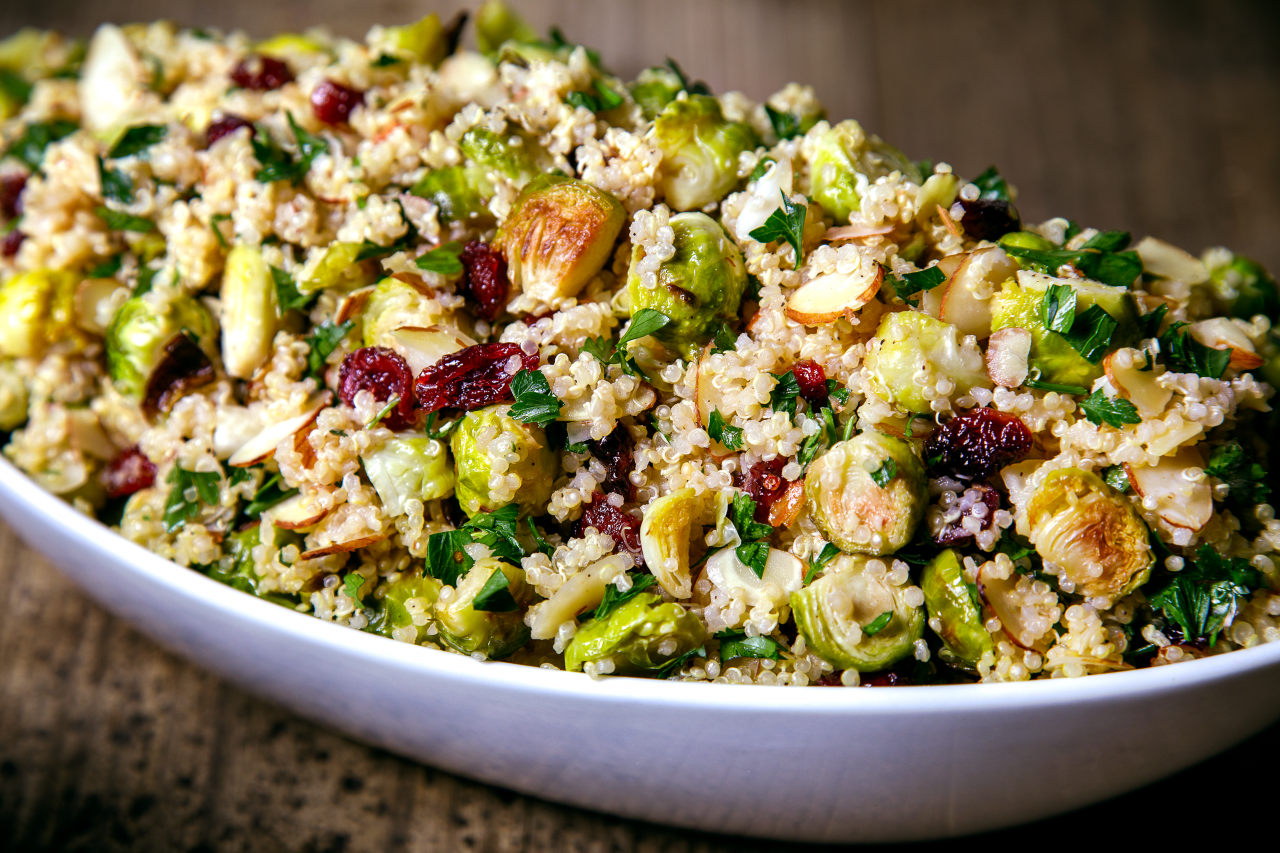 Cranberry and Quinoa Pilaf with Roasted Brussels Sprouts