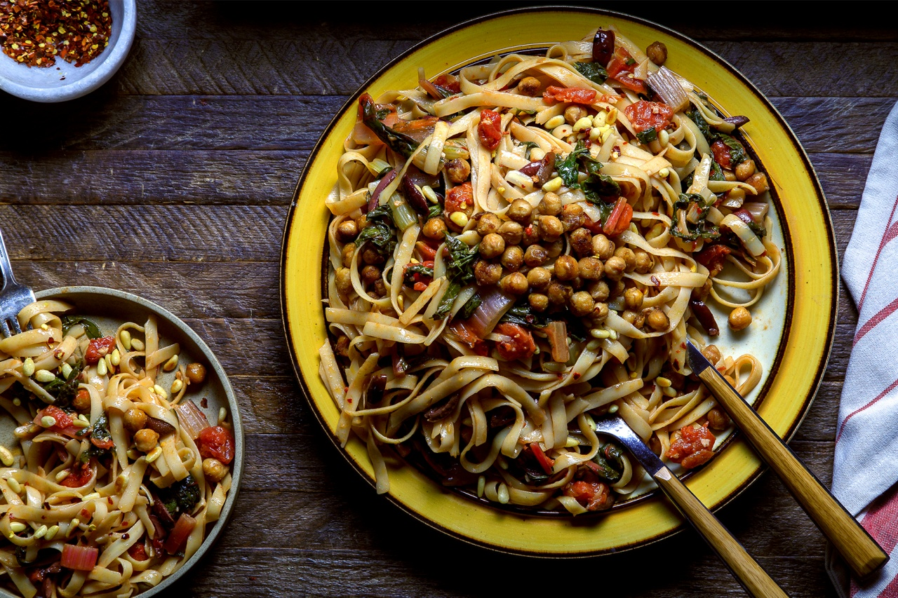 Swiss Chard and Tomato Linguine w Balsamic Glazed Chickpeas - Thug Kitchen Recipes