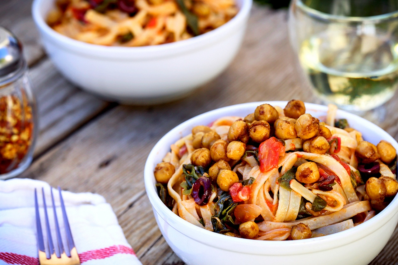Swiss Chard And Tomato Linguine With Balsamic Glazed Chickpeas - Thug Kitchen