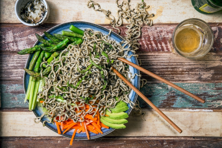 Black Sesame Cold Noodles w Spring Veggies - Thug Kitchen