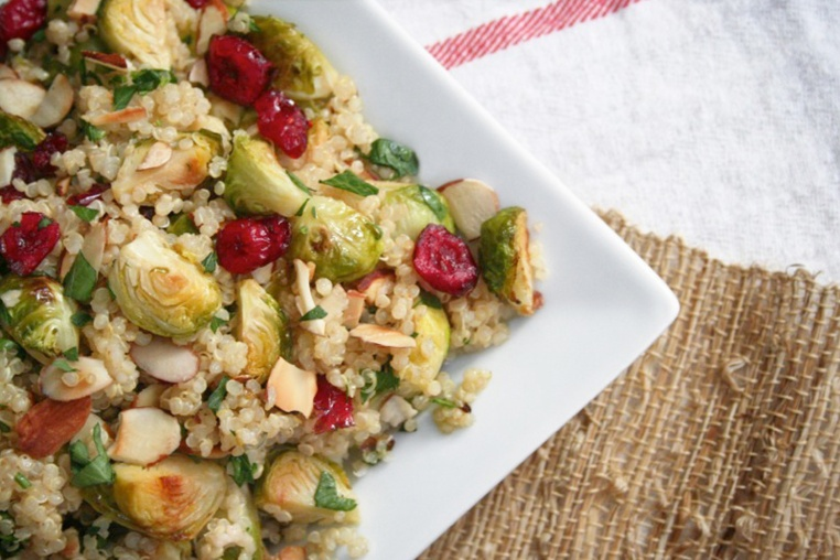 Roasted Brussels Sprouts with Quinoa and Cranberries - Thug Kitchen