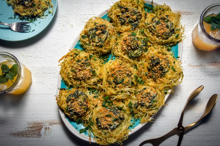 Spinach And Squash Noodle Nests - Thug Kitchen