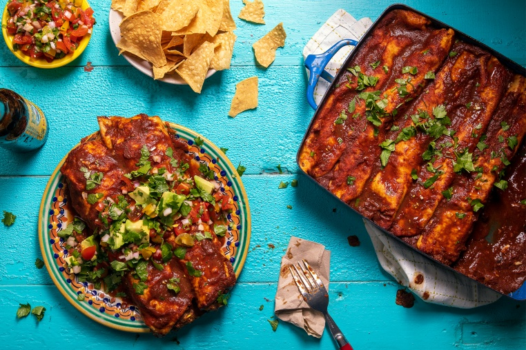 Sweet Potato, Squash, and Black Bean Enchiladas