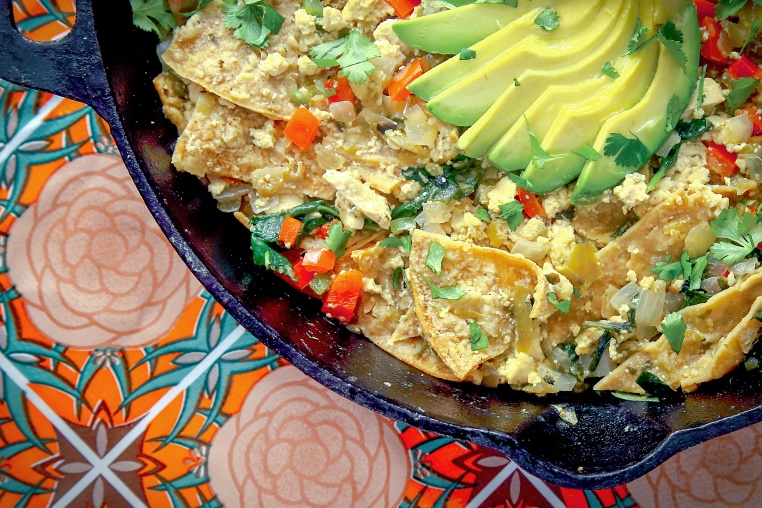 Mixed Veggie and Tofu Chilaquiles