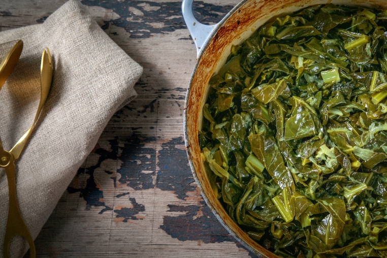 Coconut Milk Braised Collard Greens