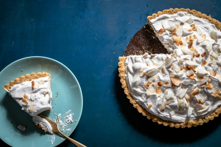 Dark and Stormy Coconut Cream Pie